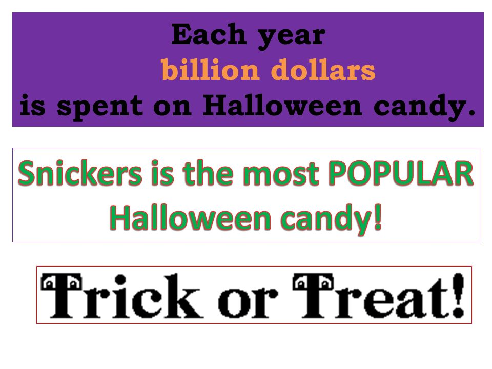 Each year 2 billion dollars is spent on Halloween candy.