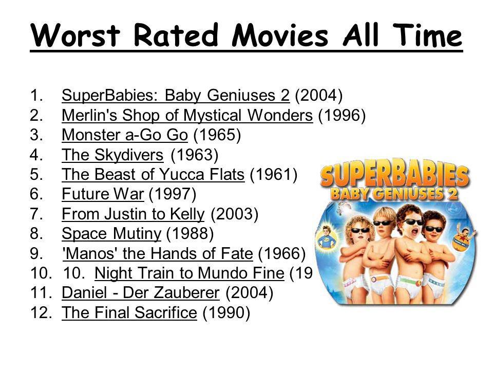Worst Rated Movies All Time 1. SuperBabies: Baby Geniuses 2 (2004) 2. Merlin's Shop of Mystical Wonders (1996) 3. Monster a-Go Go (1965) 4. The Skydiv