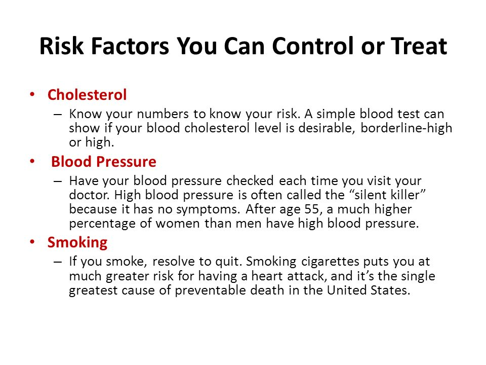 Risk Factors You Can Control or Treat Cholesterol – Know your numbers to know your risk.
