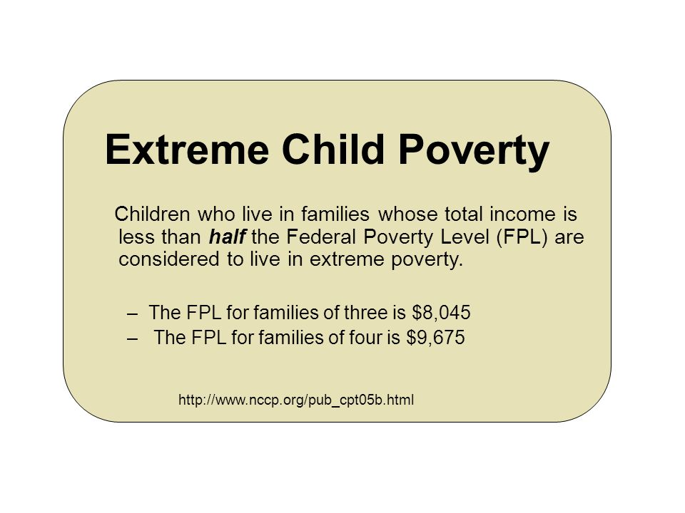 Ten States with the highest estimated rates of extreme child poverty, 2004 STATE % OF CHILDREN LIVING IN EXTREME POVERTY District of Columbia19.2% Louisiana13.3% Mississippi11.6% Arkansas10.5% New Mexico9.7% North Carolina9.7% West Virginia9.6% New York9.6% Alabama8.4% Tennessee8.4% http://www.nccp.org/pub_cpt05b.html