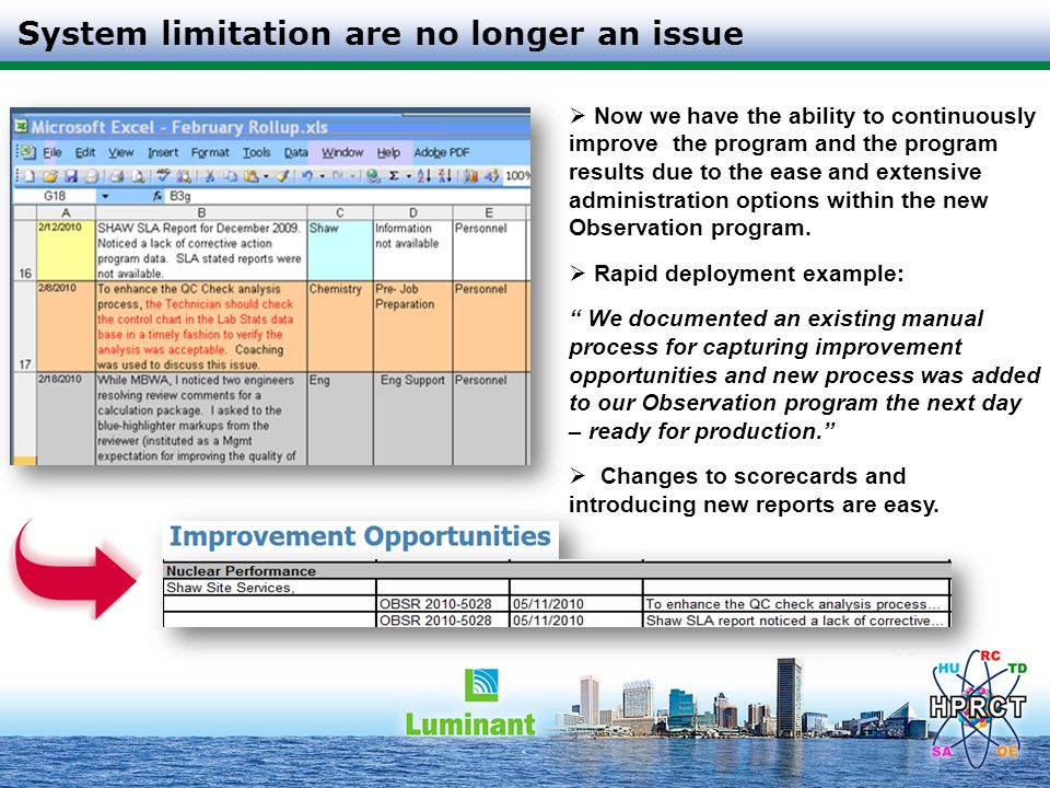 System limitation are no longer an issue Now we have the ability to continuously improve the program and the program results due to the ease and exten