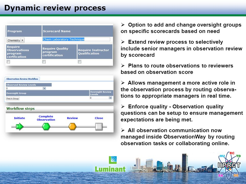 Dynamic review process Option to add and change oversight groups on specific scorecards based on need Extend review process to selectively include sen