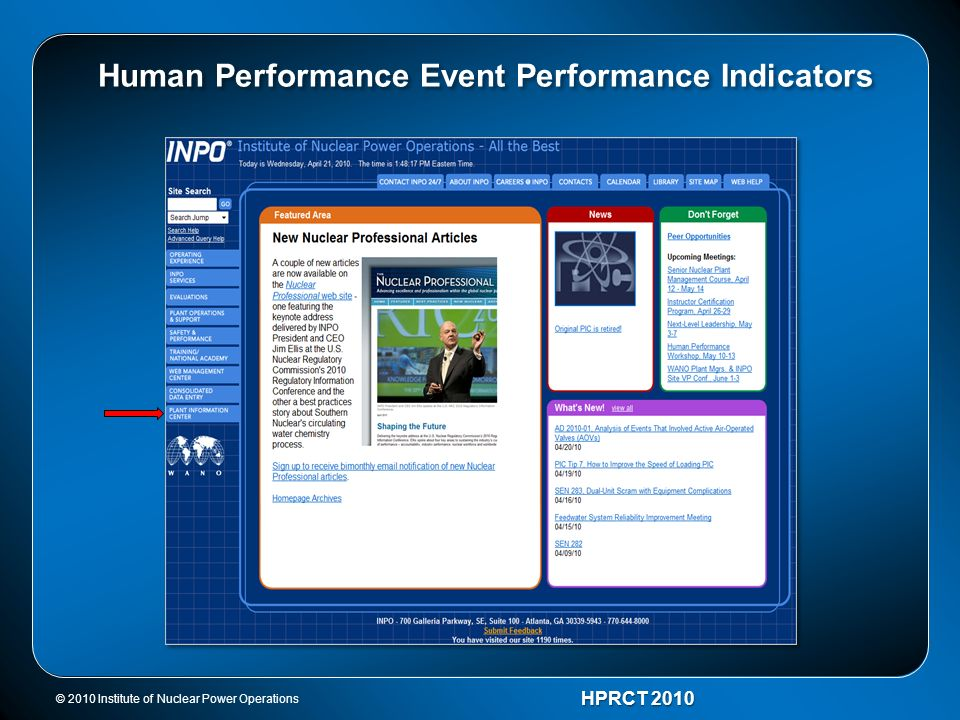 © 2010 Institute of Nuclear Power Operations HPRCT 2010 Human Performance Event Performance Indicators
