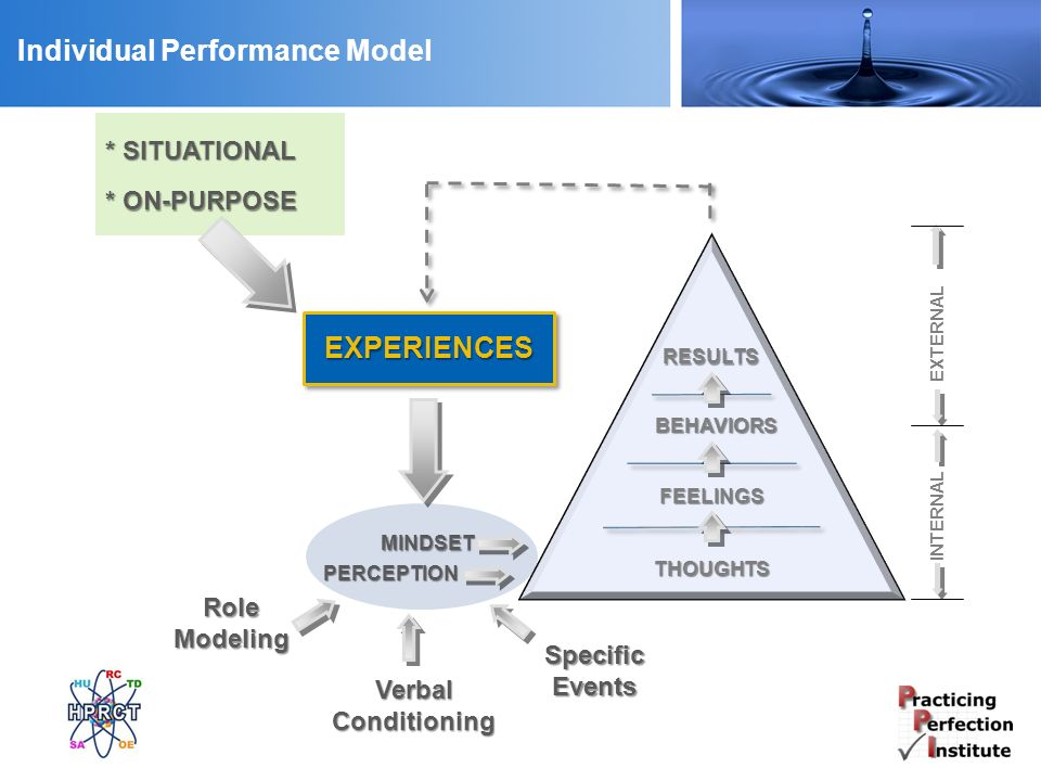 Individual Performance Model RESULTS THOUGHTS FEELINGS BEHAVIORS MINDSET PERCEPTION EXPERIENCES Role Modeling Verbal Conditioning Specific Events * SITUATIONAL * ON-PURPOSE INTERNAL EXTERNAL