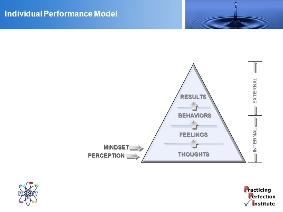 Individual Performance Model RESULTS THOUGHTS FEELINGS BEHAVIORS MINDSET PERCEPTION INTERNAL EXTERNAL