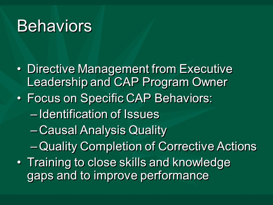 Behaviors Directive Management from Executive Leadership and CAP Program Owner Focus on Specific CAP Behaviors: –Identification of Issues –Causal Analysis Quality –Quality Completion of Corrective Actions Training to close skills and knowledge gaps and to improve performance Directive Management from Executive Leadership and CAP Program Owner Focus on Specific CAP Behaviors: –Identification of Issues –Causal Analysis Quality –Quality Completion of Corrective Actions Training to close skills and knowledge gaps and to improve performance