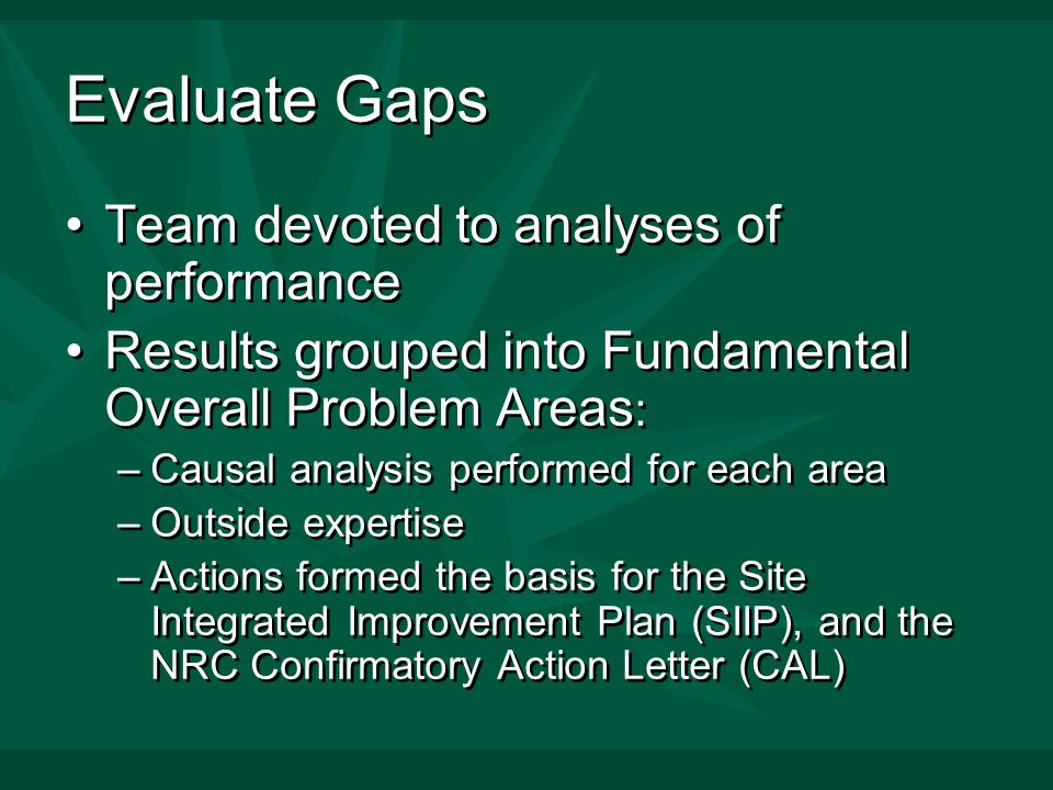 Evaluate Gaps Team devoted to analyses of performance Results grouped into Fundamental Overall Problem Areas : –Causal analysis performed for each area –Outside expertise –Actions formed the basis for the Site Integrated Improvement Plan (SIIP), and the NRC Confirmatory Action Letter (CAL) Team devoted to analyses of performance Results grouped into Fundamental Overall Problem Areas : –Causal analysis performed for each area –Outside expertise –Actions formed the basis for the Site Integrated Improvement Plan (SIIP), and the NRC Confirmatory Action Letter (CAL)