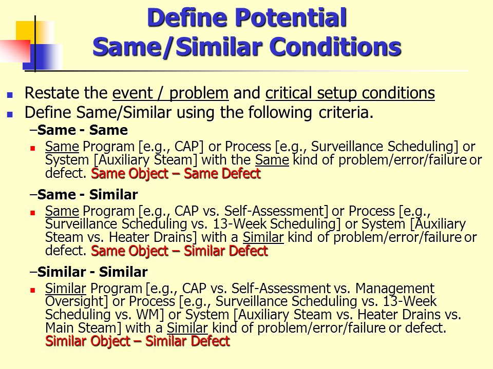 Define Potential Same/Similar Conditions Restate the event / problem and critical setup conditions Restate the event / problem and critical setup cond