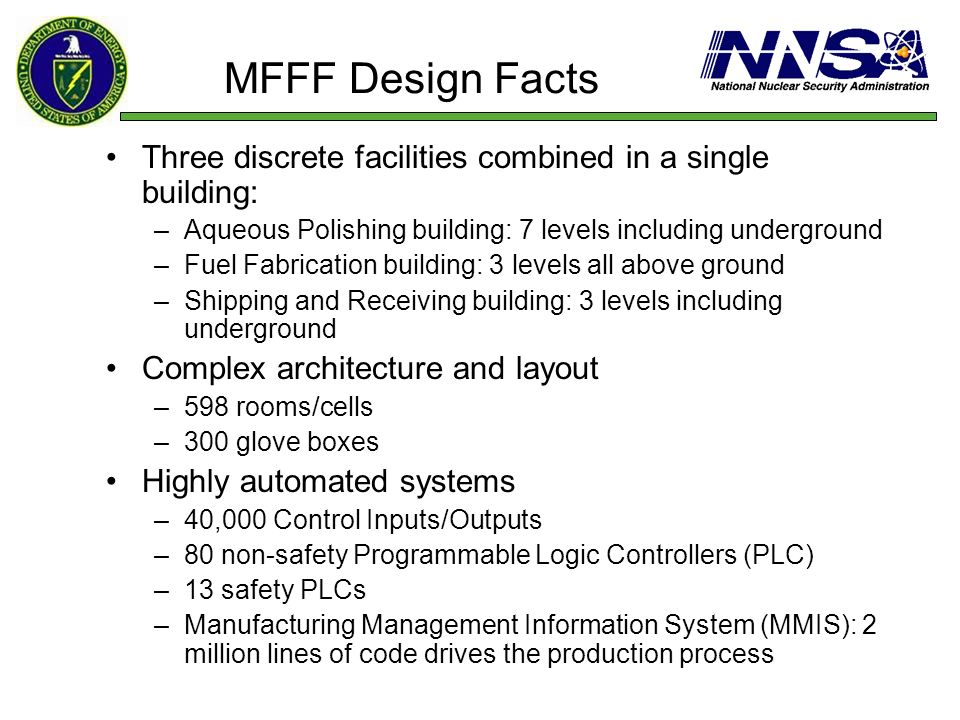 MFFF Design Facts Three discrete facilities combined in a single building: –Aqueous Polishing building: 7 levels including underground –Fuel Fabricati