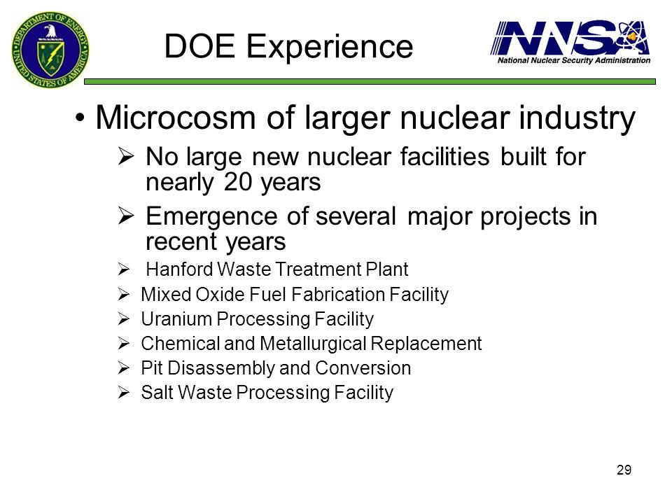 29 DOE Experience Microcosm of larger nuclear industry No large new nuclear facilities built for nearly 20 years Emergence of several major projects i