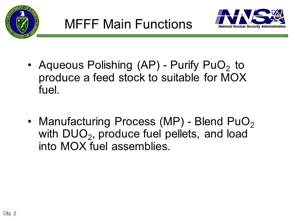 MFFF Main Functions Aqueous Polishing (AP) - Purify PuO 2 to produce a feed stock to suitable for MOX fuel. Manufacturing Process (MP) - Blend PuO 2 w