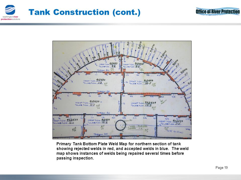 Tank Operations Contract 19 Page 19 Tank Construction (cont.) Primary Tank Bottom Plate Weld Map for northern section of tank showing rejected welds in red, and accepted welds in blue.