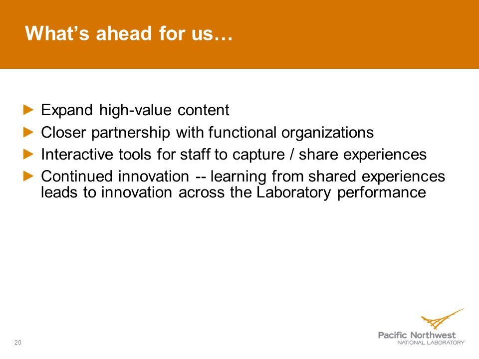 Whats ahead for us… Expand high-value content Closer partnership with functional organizations Interactive tools for staff to capture / share experiences Continued innovation -- learning from shared experiences leads to innovation across the Laboratory performance 20