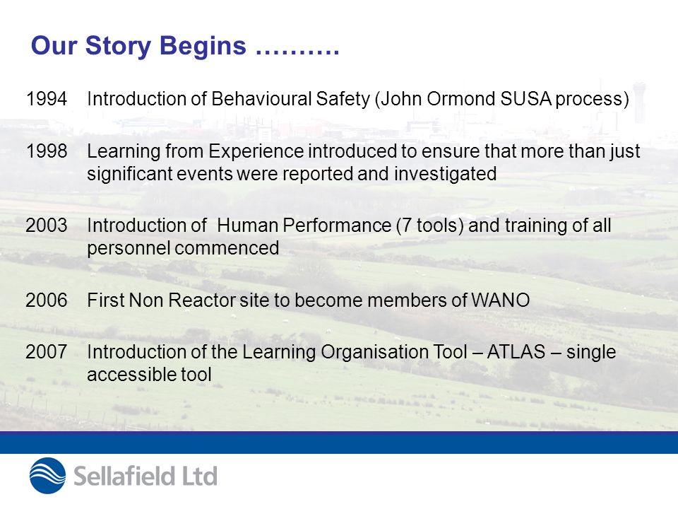 Our Story Begins ………. 1994Introduction of Behavioural Safety (John Ormond SUSA process) 1998Learning from Experience introduced to ensure that more th