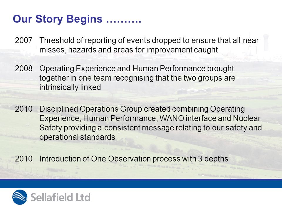 Our Story Begins ………. 2007 2008 Threshold of reporting of events dropped to ensure that all near misses, hazards and areas for improvement caught Oper