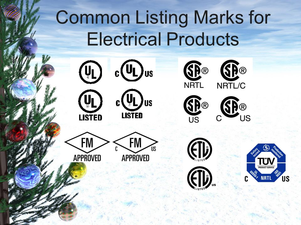 Common Listing Marks for Electrical Products