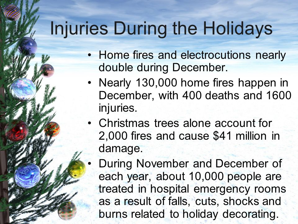 Injuries During the Holidays Home fires and electrocutions nearly double during December.