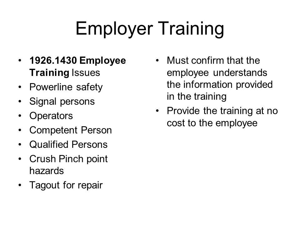 Employer Training 1926.1430 Employee Training Issues Powerline safety Signal persons Operators Competent Person Qualified Persons Crush Pinch point ha