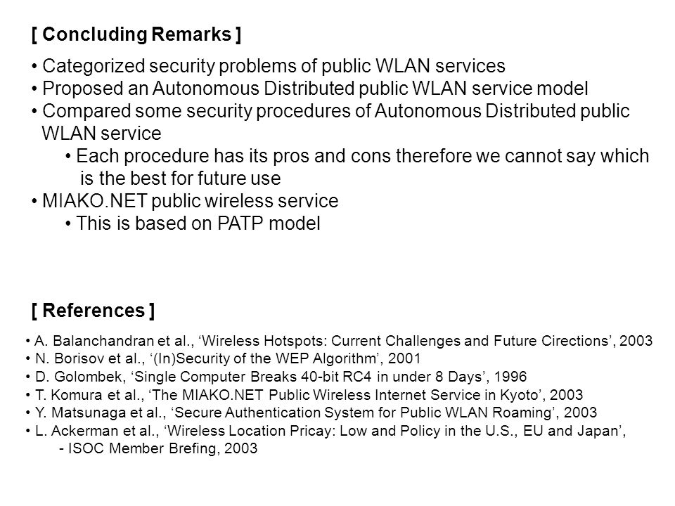 [ Concluding Remarks ] Categorized security problems of public WLAN services Proposed an Autonomous Distributed public WLAN service model Compared som