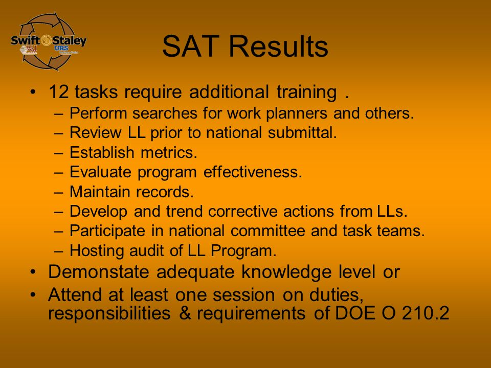 SAT Results 12 tasks require additional training. –Perform searches for work planners and others.