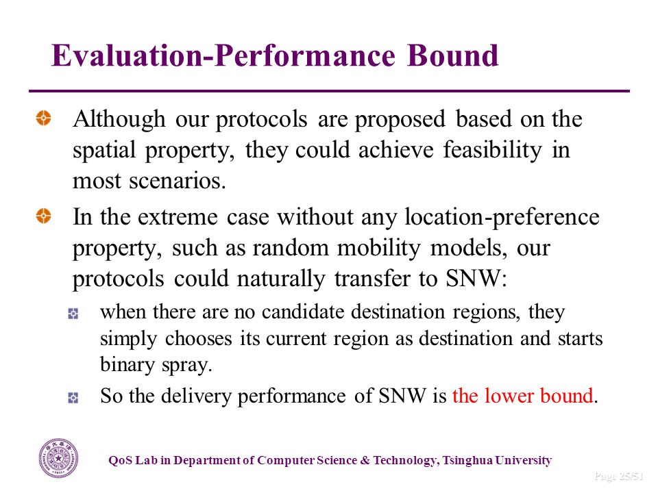 QoS Lab in Department of Computer Science & Technology, Tsinghua University Page 25/51 Although our protocols are proposed based on the spatial property, they could achieve feasibility in most scenarios.