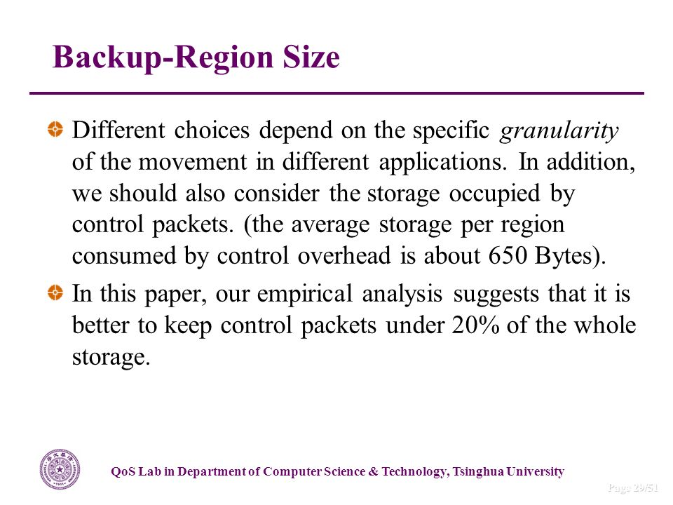 QoS Lab in Department of Computer Science & Technology, Tsinghua University Page 29/51 Backup-Region Size Different choices depend on the specific granularity of the movement in different applications.