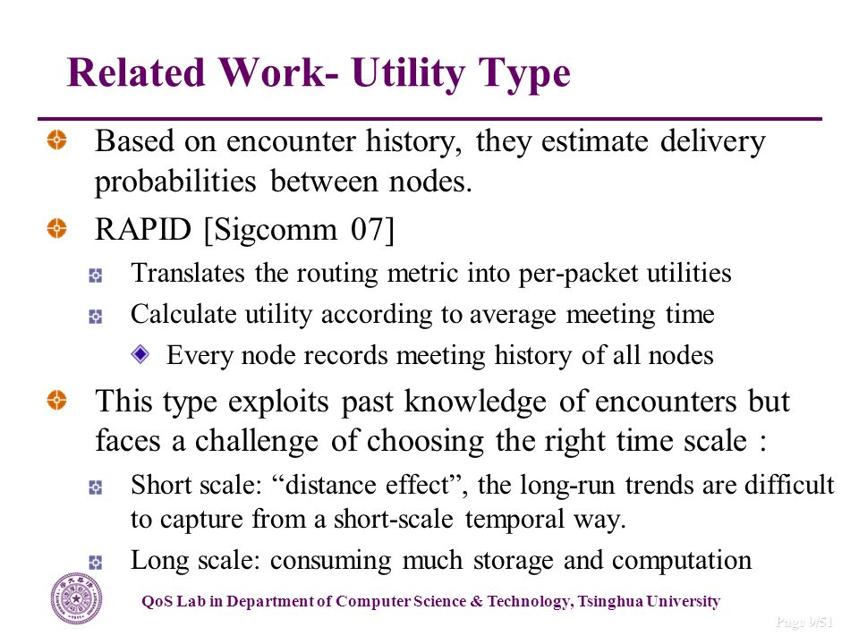 QoS Lab in Department of Computer Science & Technology, Tsinghua University Page 9/51 Based on encounter history, they estimate delivery probabilities between nodes.