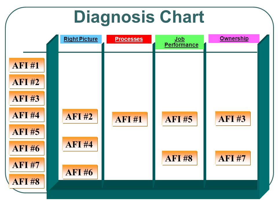 Ownership AFI #5 Diagnosis Chart AFI #4 AFI #5 AFI #6 AFI #7 AFI #3 AFI #2 AFI #1 AFI #8 AFI #6 AFI #7 AFI #3 AFI #8 AFI #2 AFI #4 Right PictureProcesses AFI #1 Job Performance