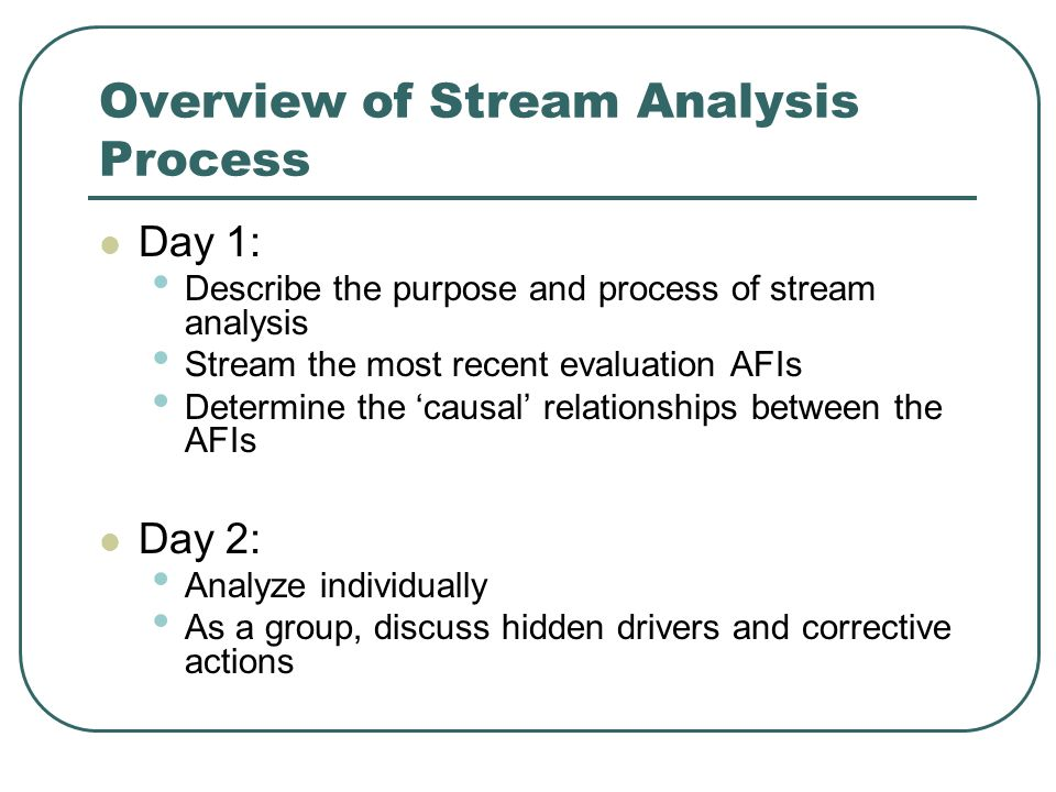 Stream Analysis QUESTIONS?