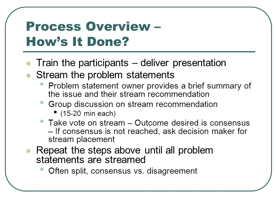 Process Overview – Hows It Done.