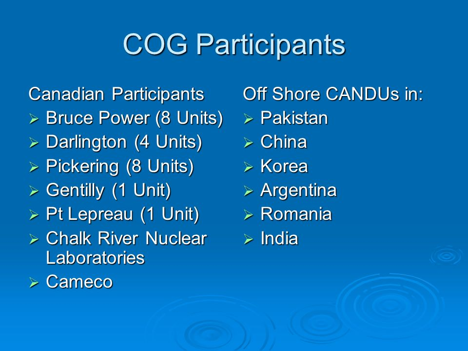 COG Participants Canadian Participants Bruce Power (8 Units) Bruce Power (8 Units) Darlington (4 Units) Darlington (4 Units) Pickering (8 Units) Picke