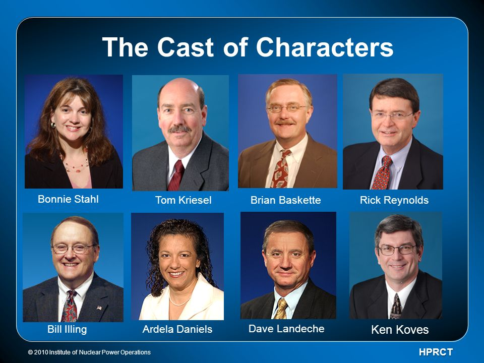 © 2010 Institute of Nuclear Power OperationsHPRCT The Cast of Characters Bill Illing Bonnie Stahl Tom Kriesel Dave Landeche Ardela Daniels Rick Reynol
