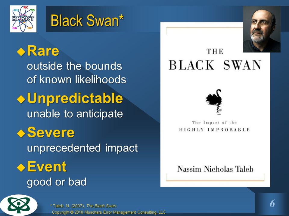 Key Points 1.Black Swans are rare, unpredictable, very severe events. 2.High Reliability Organizations (HRO) enhance safety through optimizing reliabi