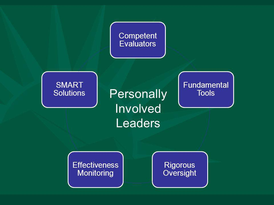 Competent Evaluators Fundamental Tools Rigorous Oversight Effectiveness Monitoring SMART Solutions Personally Involved Leaders