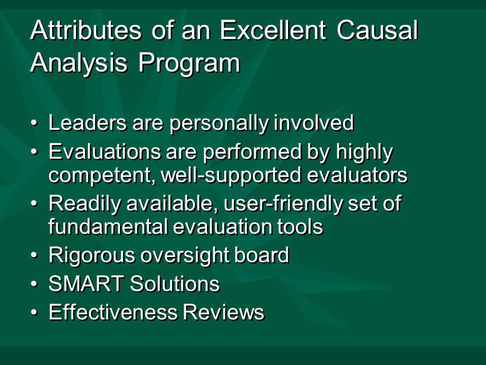 Attributes of an Excellent Causal Analysis Program Leaders are personally involved Evaluations are performed by highly competent, well-supported evaluators Readily available, user-friendly set of fundamental evaluation tools Rigorous oversight board SMART Solutions Effectiveness Reviews Leaders are personally involved Evaluations are performed by highly competent, well-supported evaluators Readily available, user-friendly set of fundamental evaluation tools Rigorous oversight board SMART Solutions Effectiveness Reviews
