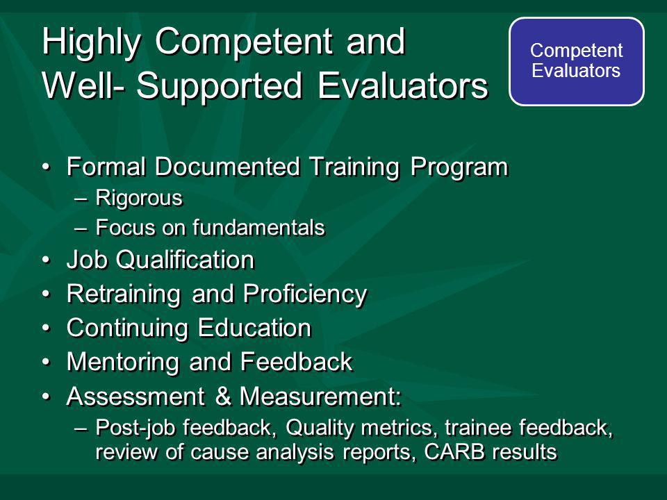 Highly Competent and Well- Supported Evaluators Formal Documented Training Program –Rigorous –Focus on fundamentals Job Qualification Retraining and Proficiency Continuing Education Mentoring and Feedback Assessment & Measurement: –Post-job feedback, Quality metrics, trainee feedback, review of cause analysis reports, CARB results Formal Documented Training Program –Rigorous –Focus on fundamentals Job Qualification Retraining and Proficiency Continuing Education Mentoring and Feedback Assessment & Measurement: –Post-job feedback, Quality metrics, trainee feedback, review of cause analysis reports, CARB results Competent Evaluators