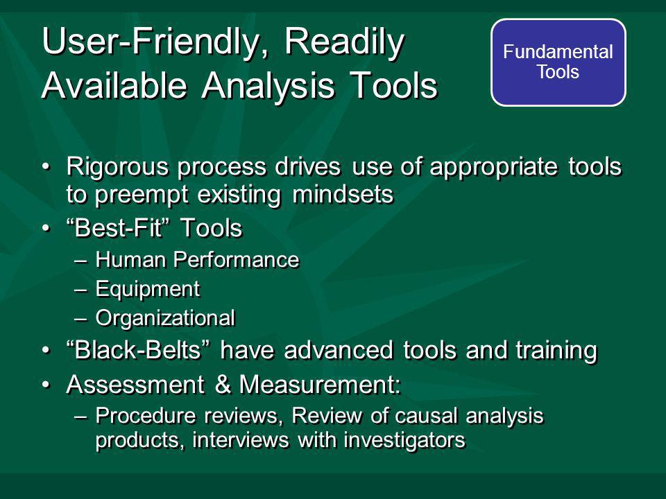 User-Friendly, Readily Available Analysis Tools Rigorous process drives use of appropriate tools to preempt existing mindsets Best-Fit Tools –Human Performance –Equipment –Organizational Black-Belts have advanced tools and training Assessment & Measurement: –Procedure reviews, Review of causal analysis products, interviews with investigators Rigorous process drives use of appropriate tools to preempt existing mindsets Best-Fit Tools –Human Performance –Equipment –Organizational Black-Belts have advanced tools and training Assessment & Measurement: –Procedure reviews, Review of causal analysis products, interviews with investigators Fundamental Tools