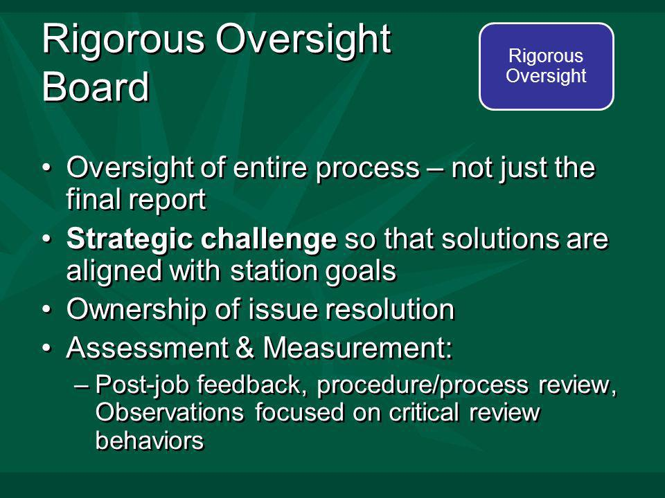 Rigorous Oversight Board Oversight of entire process – not just the final report Strategic challenge so that solutions are aligned with station goals Ownership of issue resolution Assessment & Measurement: –Post-job feedback, procedure/process review, Observations focused on critical review behaviors Oversight of entire process – not just the final report Strategic challenge so that solutions are aligned with station goals Ownership of issue resolution Assessment & Measurement: –Post-job feedback, procedure/process review, Observations focused on critical review behaviors Rigorous Oversight