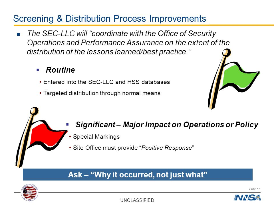 UNCLASSIFIED Screening & Distribution Process Improvements Slide 16 The SEC-LLC will coordinate with the Office of Security Operations and Performance