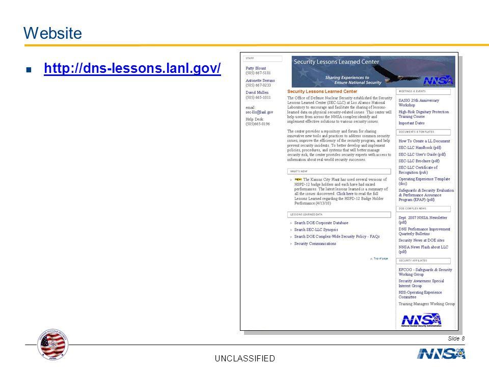 UNCLASSIFIED Slide 8 Website http://dns-lessons.lanl.gov/