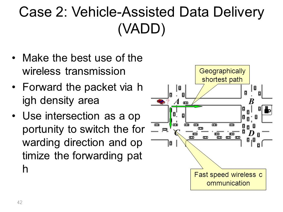 Make the best use of the wireless transmission Forward the packet via h igh density area Use intersection as a op portunity to switch the for warding direction and op timize the forwarding pat h Geographically shortest path Fast speed wireless c ommunication Case 2: Vehicle-Assisted Data Delivery (VADD) 42