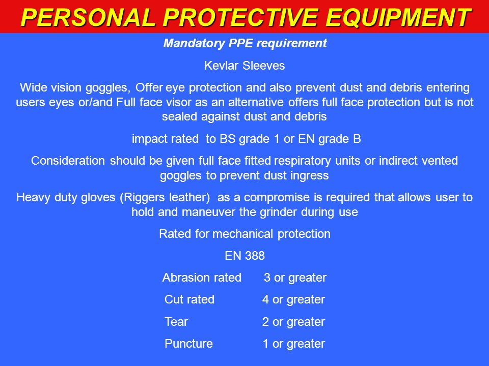 PERSONAL PROTECTIVE EQUIPMENT Mandatory PPE requirement Kevlar Sleeves Wide vision goggles, Offer eye protection and also prevent dust and debris ente