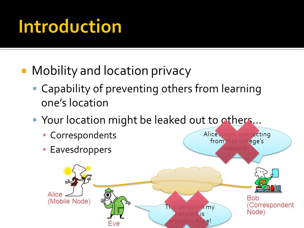 Mobility and location privacy Capability of preventing others from learning ones location Your location might be leaked out to others… Correspondents Eavesdroppers Alice is now connecting from that colleges network.