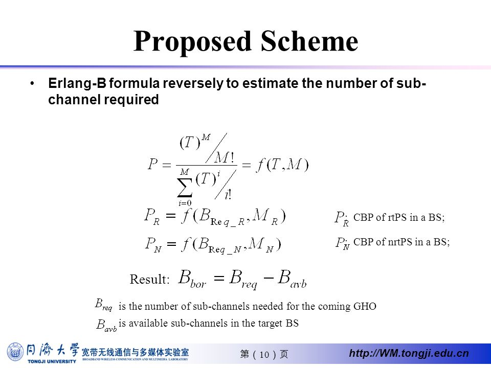 10 http://WM.tongji.edu.cn Proposed Scheme Erlang-B formula reversely to estimate the number of sub- channel required Result: : CBP of nrtPS in a BS; : CBP of rtPS in a BS; is the number of sub-channels needed for the coming GHO is available sub-channels in the target BS