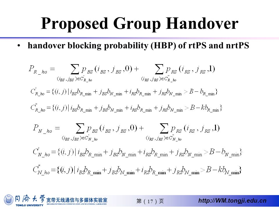 17 http://WM.tongji.edu.cn Proposed Group Handover handover blocking probability (HBP) of rtPS and nrtPS