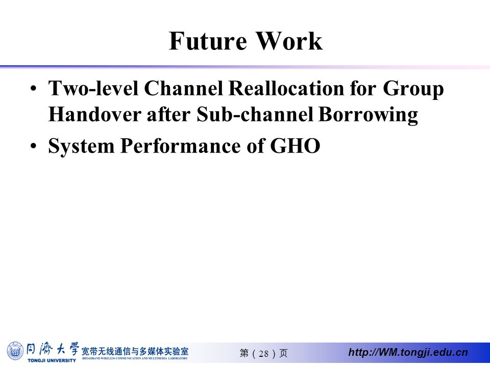 28 http://WM.tongji.edu.cn Future Work Two-level Channel Reallocation for Group Handover after Sub-channel Borrowing System Performance of GHO