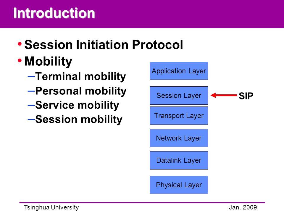 Tsinghua UniversityJan. 2009Introduction Session Initiation Protocol Mobility – Terminal mobility – Personal mobility – Service mobility – Session mob