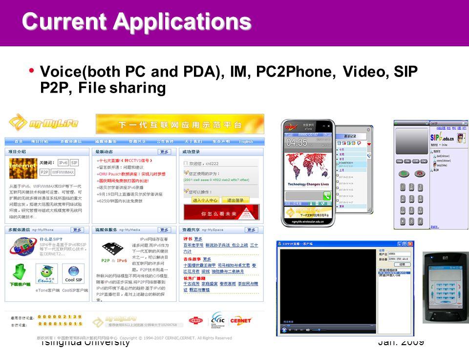 Tsinghua UniversityJan. 2009 Current Applications Voice(both PC and PDA), IM, PC2Phone, Video, SIP P2P, File sharing