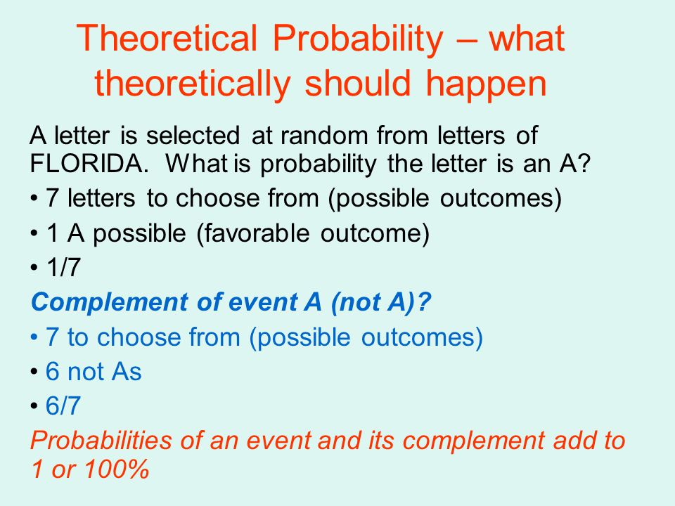 Theoretical Probability – what theoretically should happen A letter is selected at random from letters of FLORIDA. What is probability the letter is a