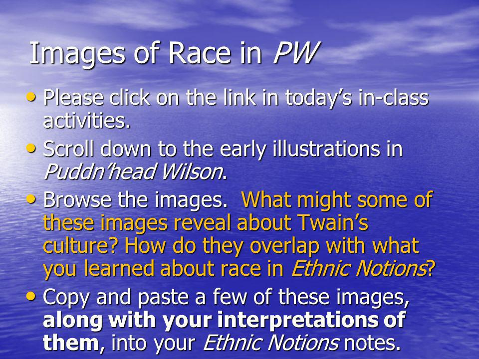 Images of Race in PW Please click on the link in todays in-class activities.